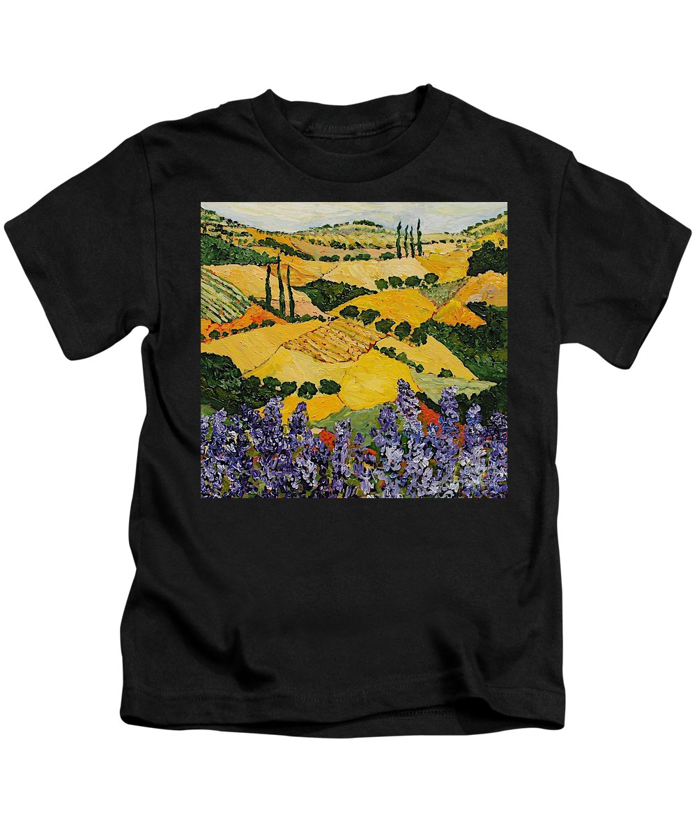 Landscape Kids T-Shirt featuring the painting Piping Hot by Allan P Friedlander