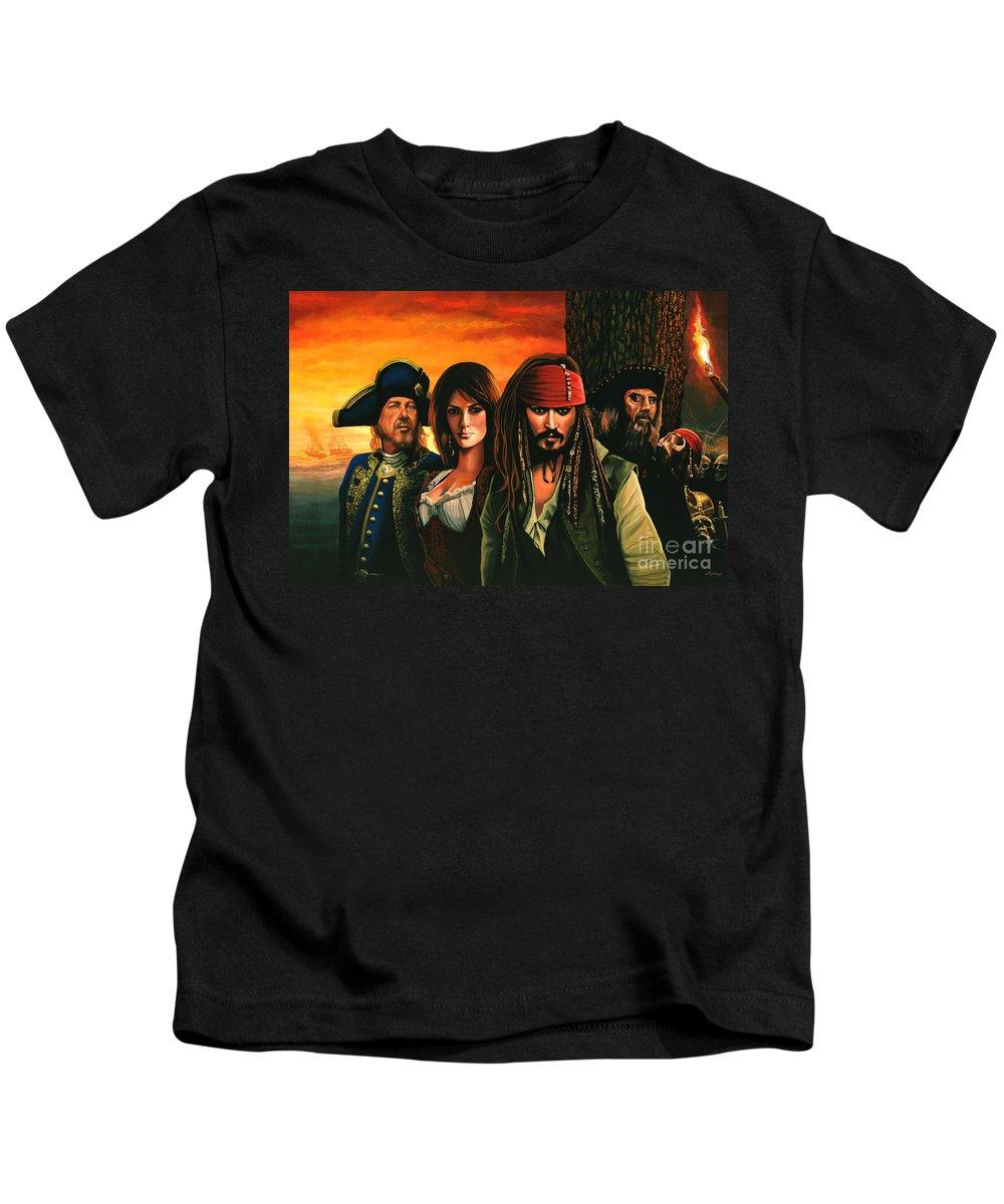 Pirates Of The Caribbean Kids T-Shirt featuring the painting Pirates Of The Caribbean by Paul Meijering
