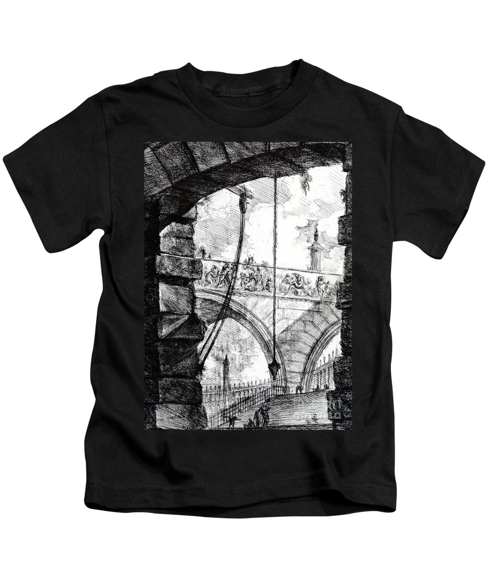 Prison; Archway; Arch; Arches; Frieze; Design; Architecture; Drawing; Sketch; Gaol; Jail; Invented; Imagined Kids T-Shirt featuring the drawing Plate 4 From The Carceri Series by Giovanni Battista Piranesi