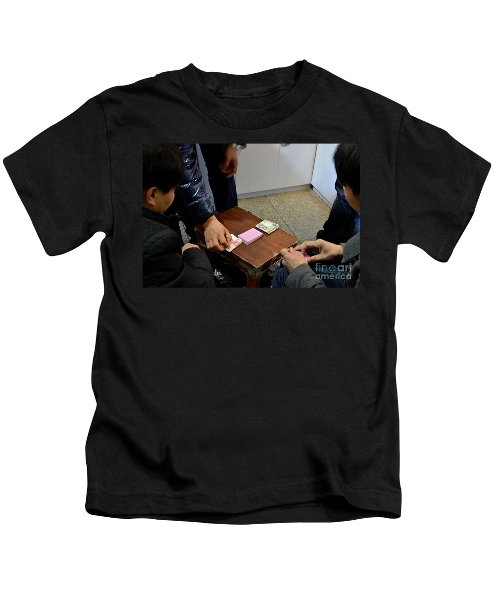 Cards Kids T-Shirt featuring the photograph Playing Hands Playing Cards - Gambling by Imran Ahmed