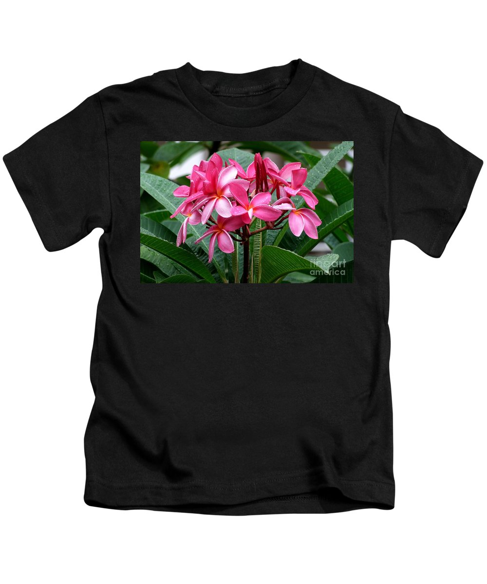 Plumeria Kids T-Shirt featuring the photograph Playing In The Rain by Mary Deal