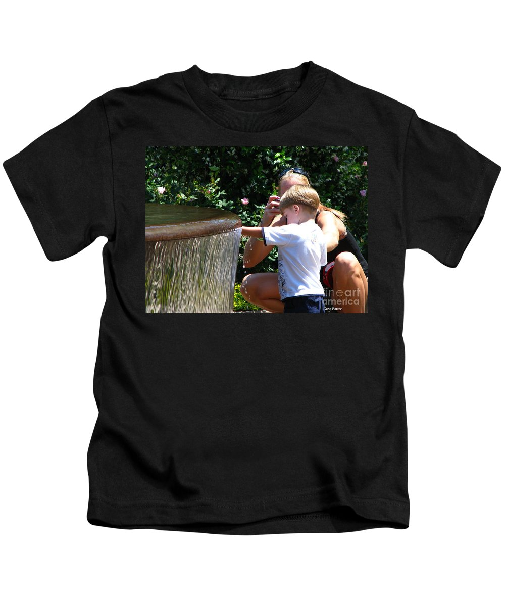 Art For The Wall...patzer Photography Kids T-Shirt featuring the photograph Playing In Water by Greg Patzer