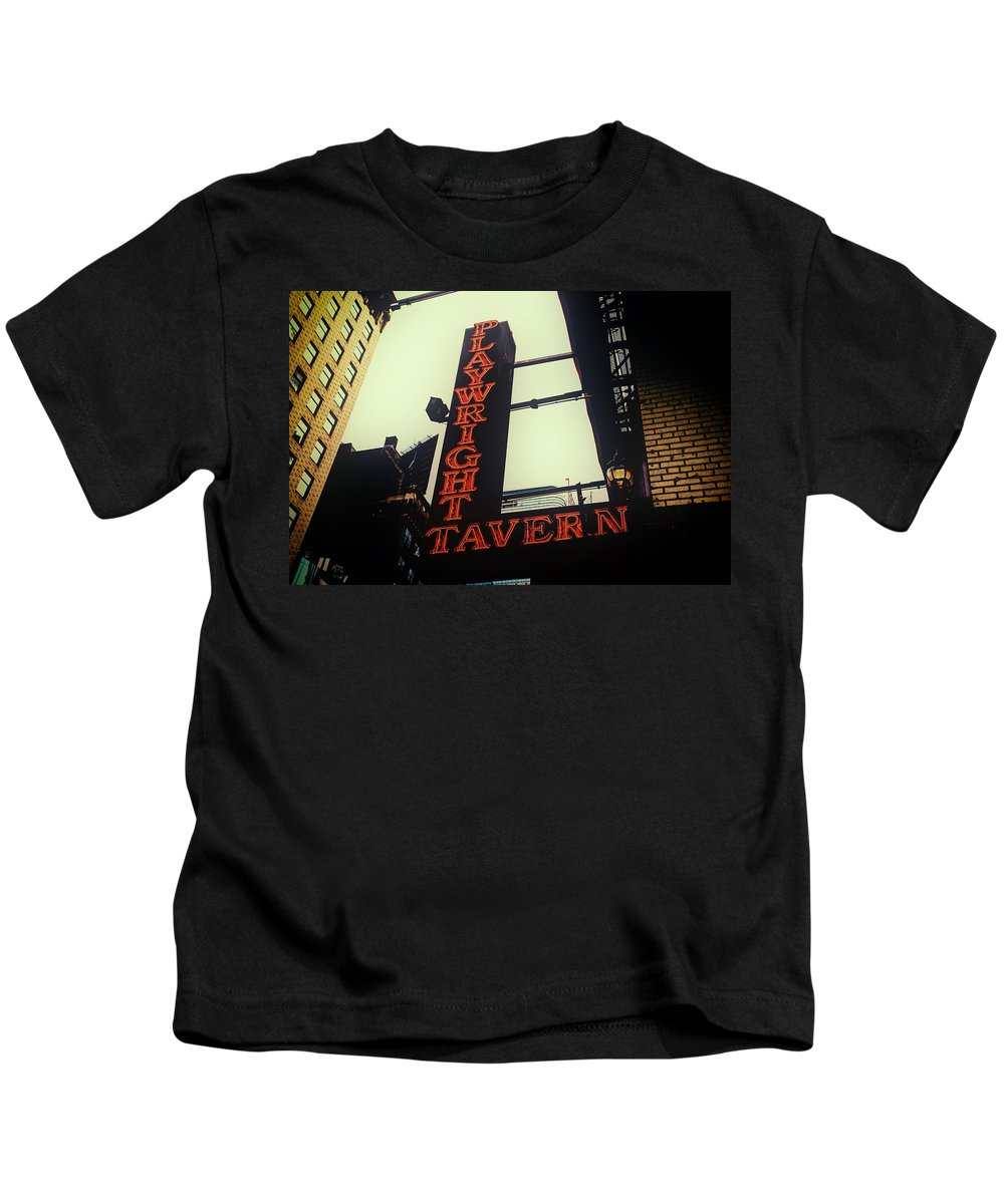 Playwright Kids T-Shirt featuring the photograph Playwright Tavern by Karol Livote