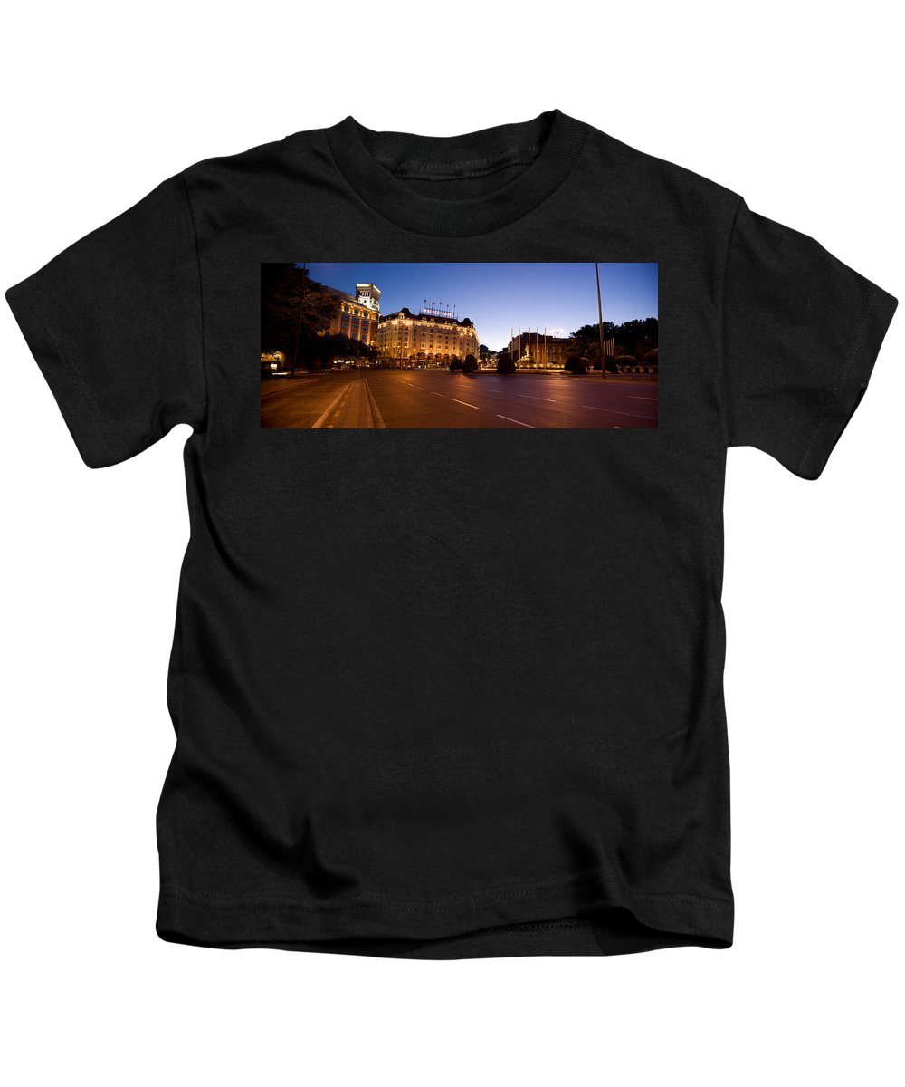 Photography Kids T-Shirt featuring the photograph Plaza De Neptuno And Palace Hotel by Panoramic Images