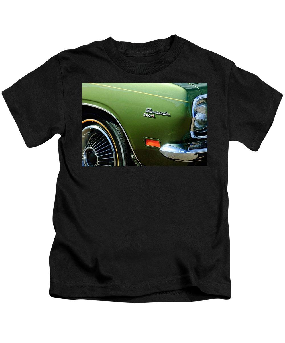 Plymouth Barracuda 340-s Emblem Kids T-Shirt featuring the photograph Plymouth Barracuda 340-s Emblem by Jill Reger