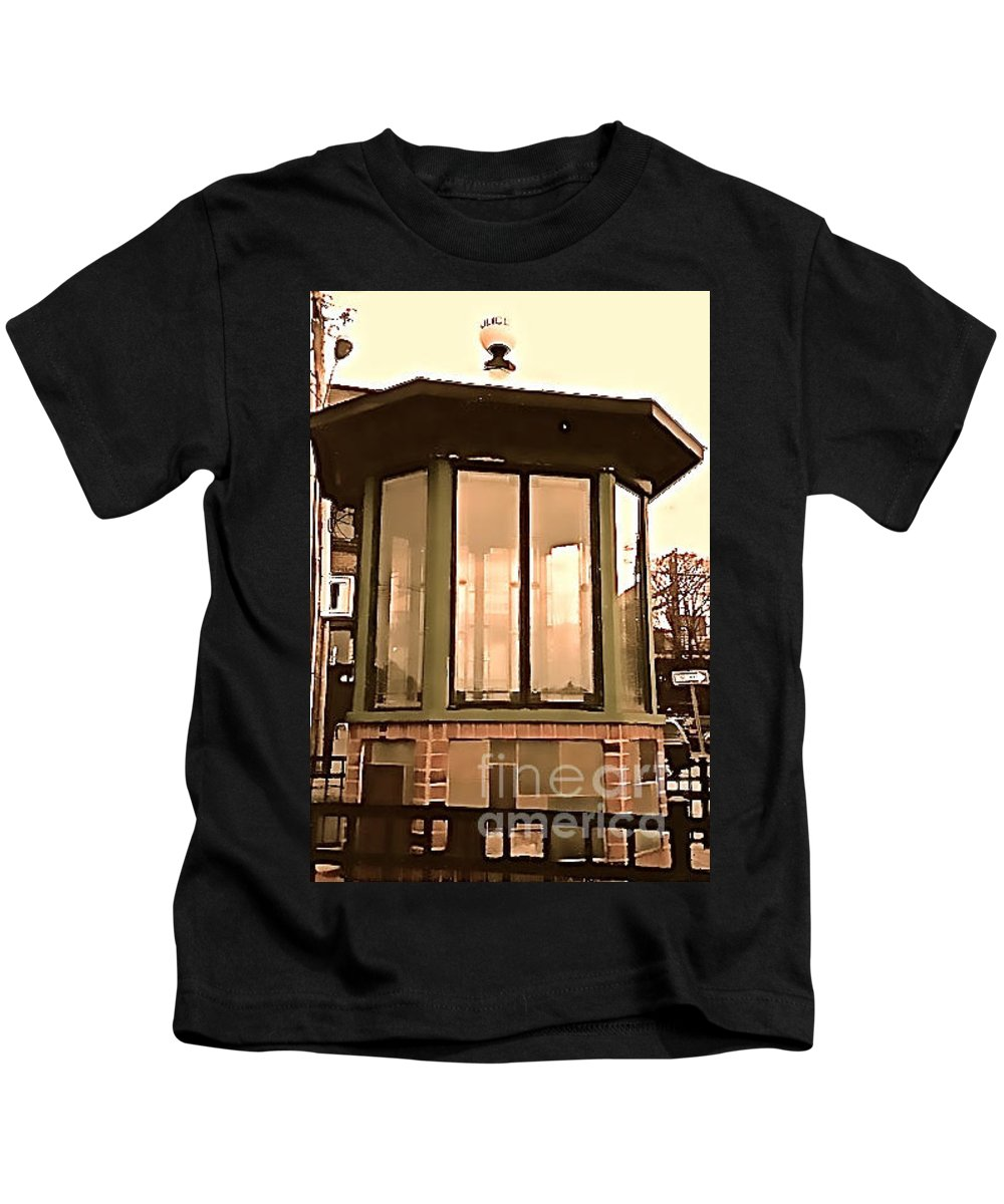 Police Kids T-Shirt featuring the photograph Police Booth by Christy Gendalia