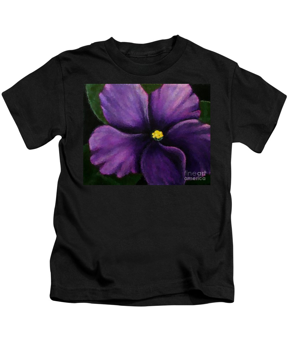 Polka Dot Purple African Violet Kids T-Shirt featuring the photograph Polka Dot Purple African Violet by Barbara Griffin