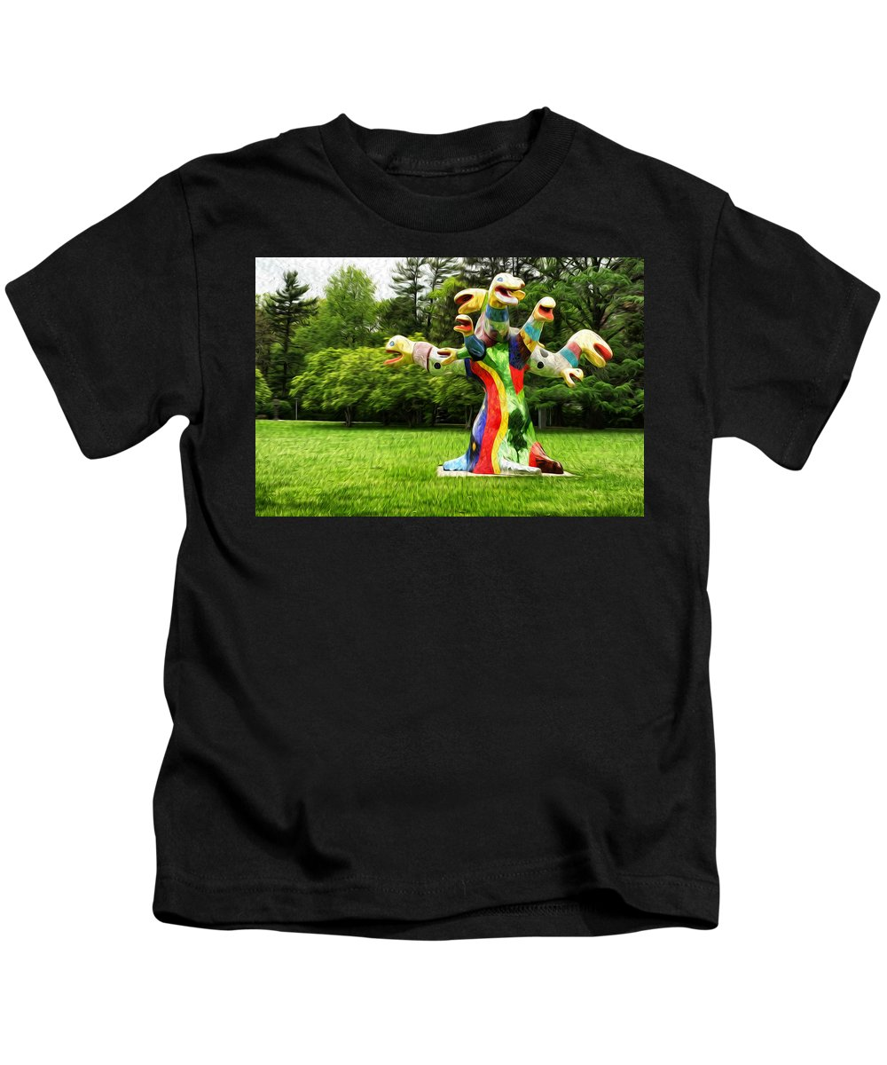 Polycephaly Dragon Statue Kids T-Shirt featuring the painting Polycephaly Dragon by Boris Mordukhayev