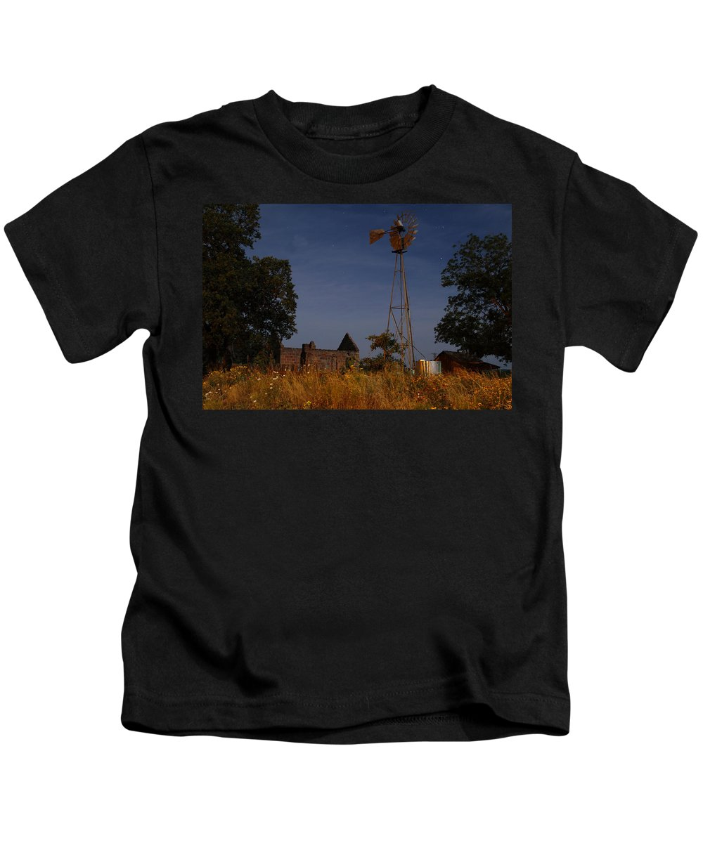 Ruin Kids T-Shirt featuring the photograph Pontotoc Ruins 2am-110391_edit by Andrew McInnes