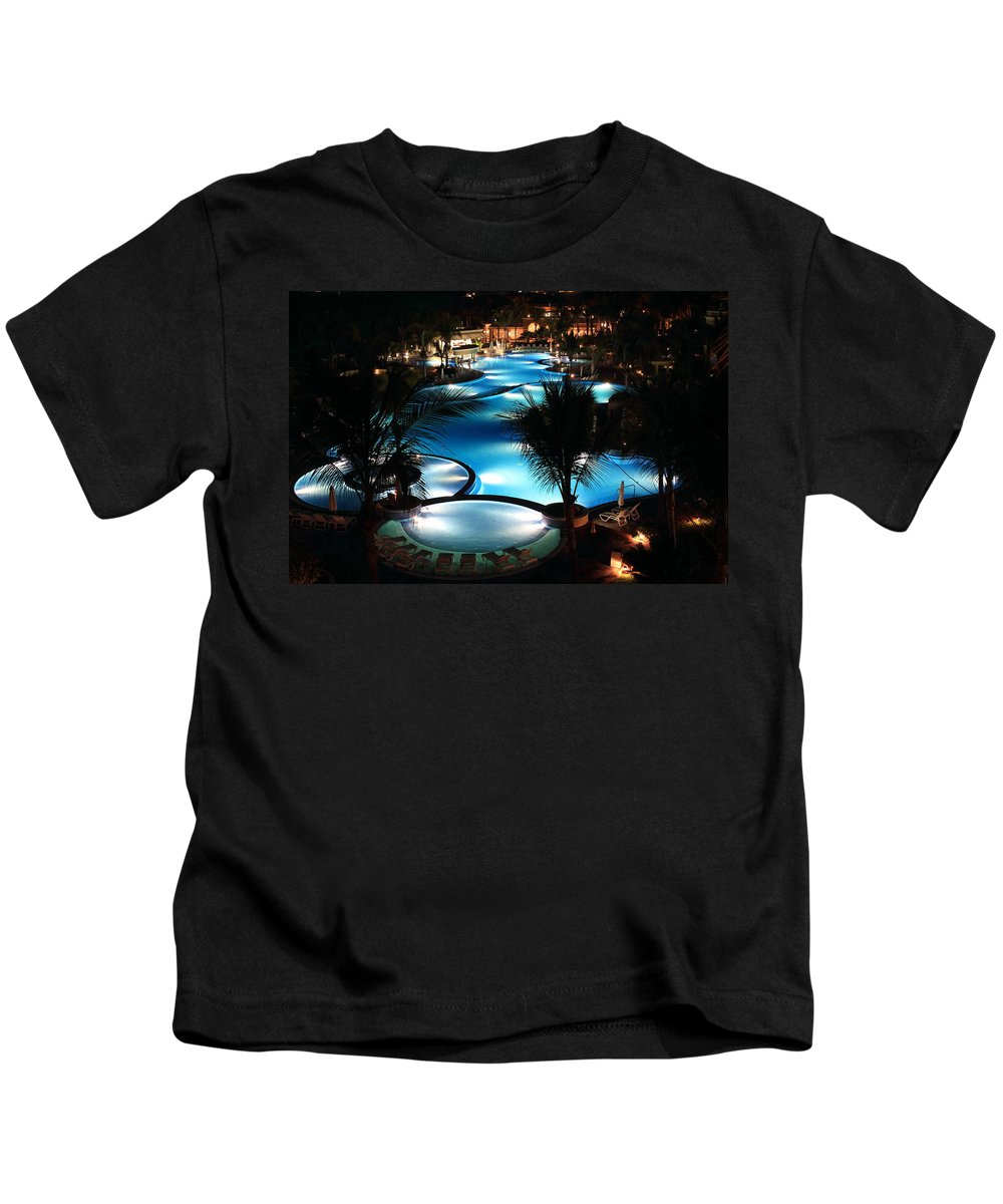 Vacation Kids T-Shirt featuring the photograph Pool At Night by Shane Bechler