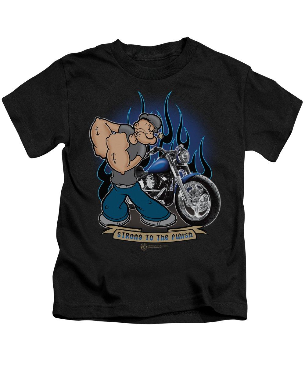 Popeye Kids T-Shirt featuring the digital art Popeye - Biker Popeye by Brand A