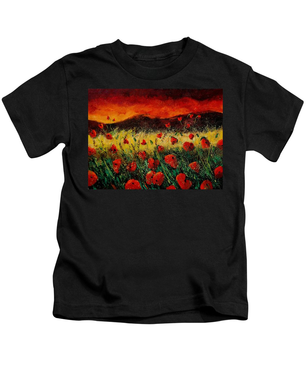 Poppies Kids T-Shirt featuring the painting Poppies 68 by Pol Ledent