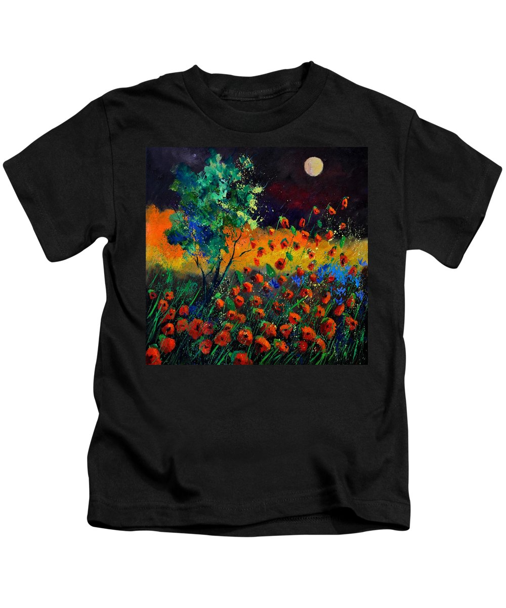 Landscape Kids T-Shirt featuring the painting Poppies 774111 by Pol Ledent