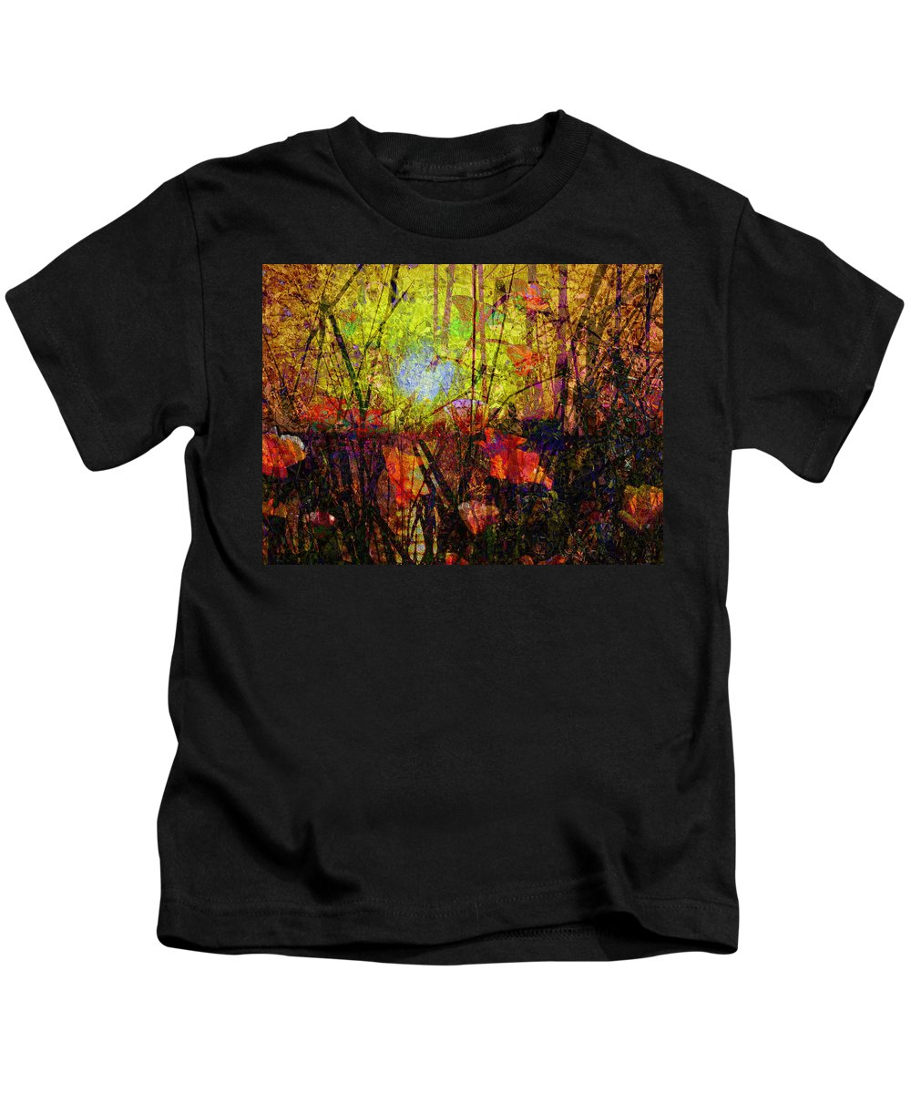 Poppies In Paradise Kids T-Shirt featuring the mixed media Poppies In Paradise by Kiki Art