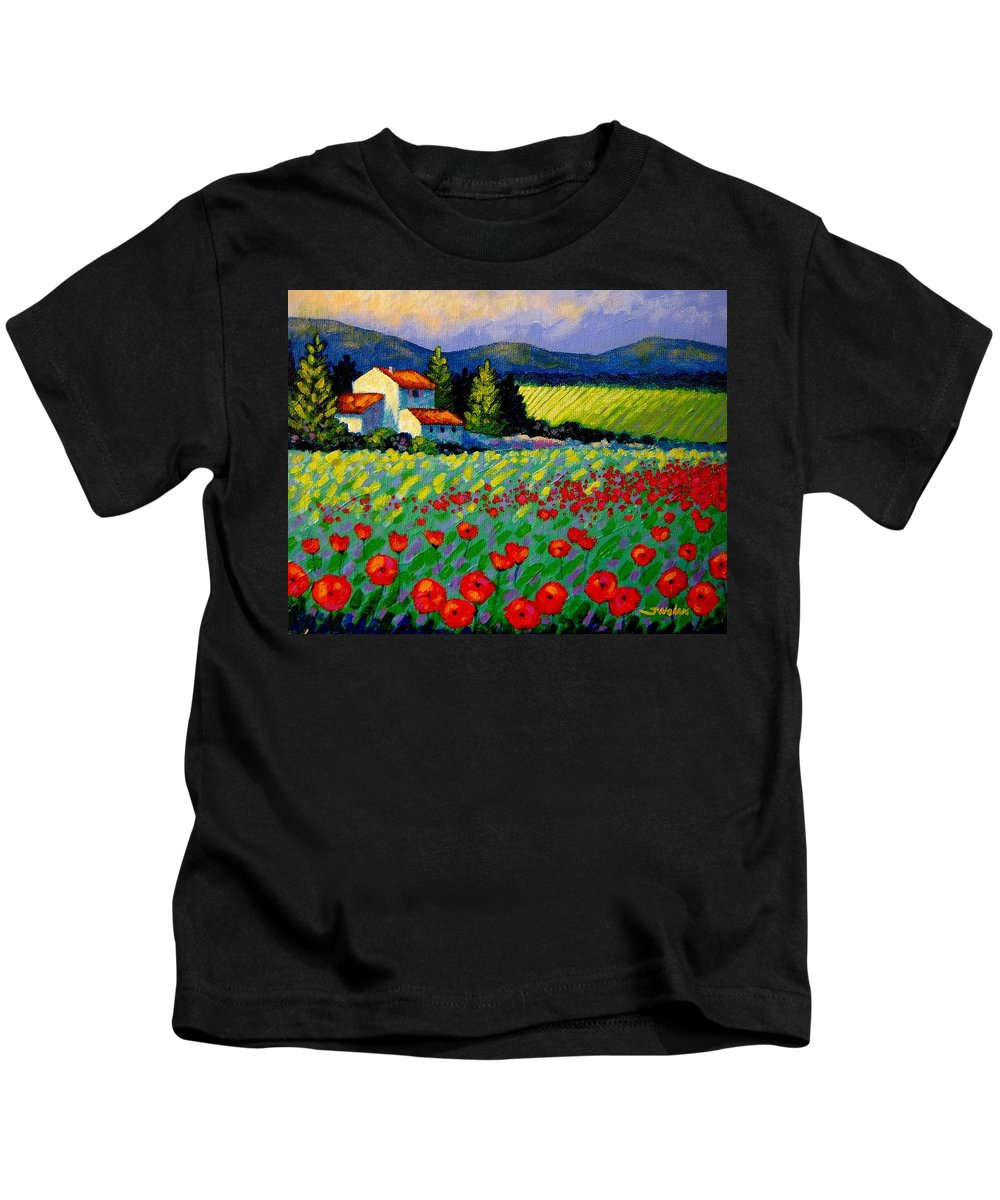 Poppies Kids T-Shirt featuring the painting Poppy Field - Provence by John Nolan