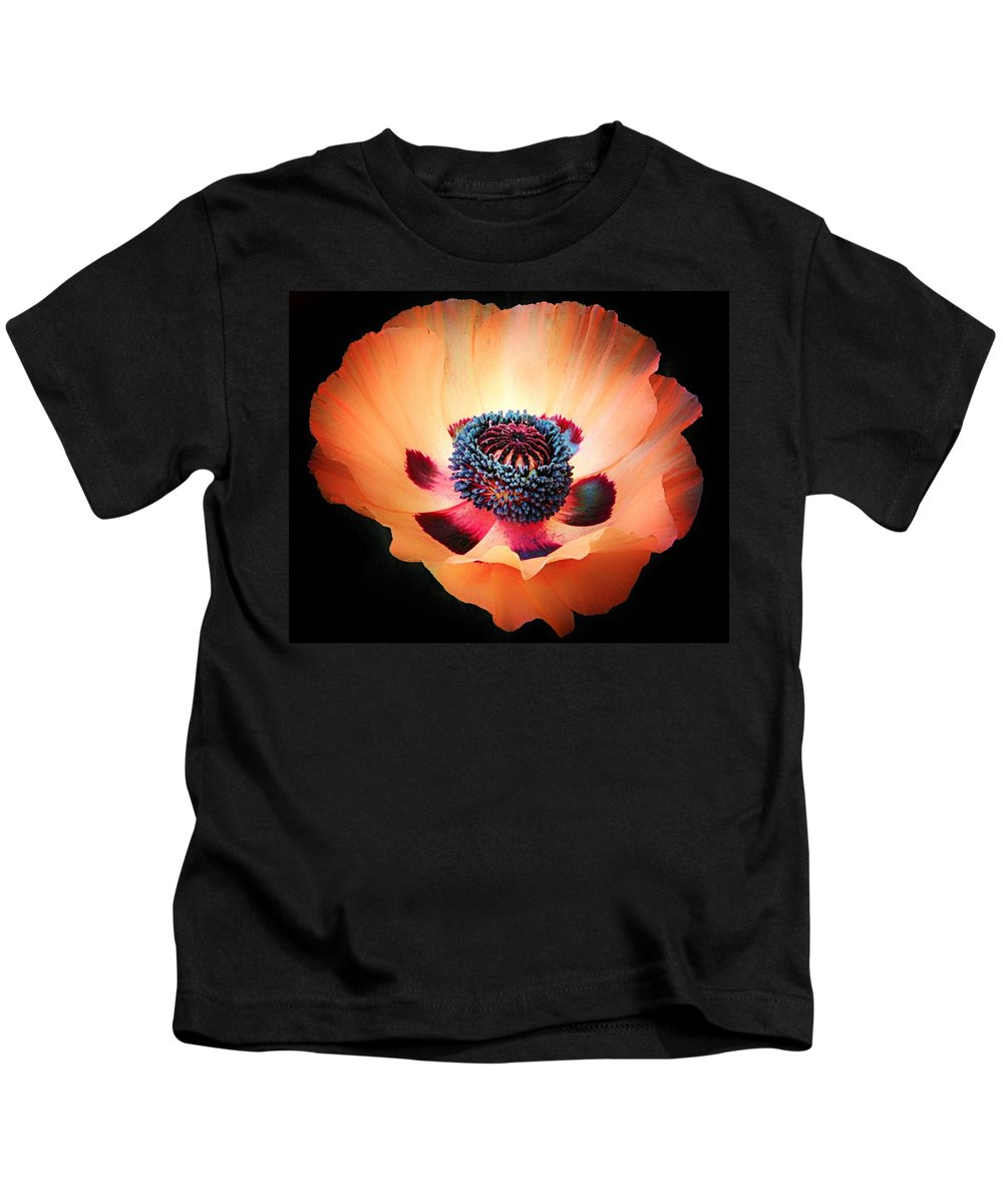 Poppy Kids T-Shirt featuring the photograph Poppy In The Darkness by Michael J Samuels