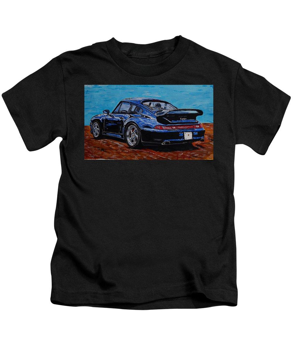 Porsche Kids T-Shirt featuring the painting Porsche 911 Turbo by Juan Mendez