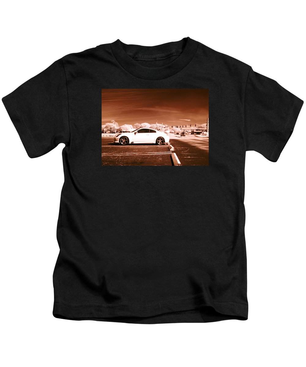 America Kids T-Shirt featuring the photograph Porsche Car Side Profile Brown Near Infrared by Sally Rockefeller