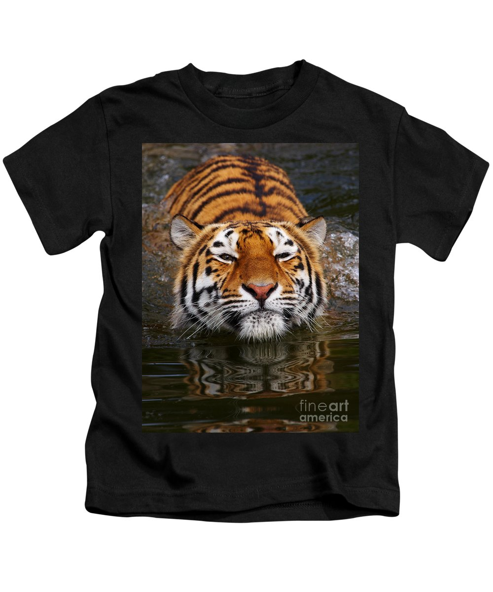 Pool Kids T-Shirt featuring the photograph Portrait Of A Bathing Siberian Tiger by Nick Biemans