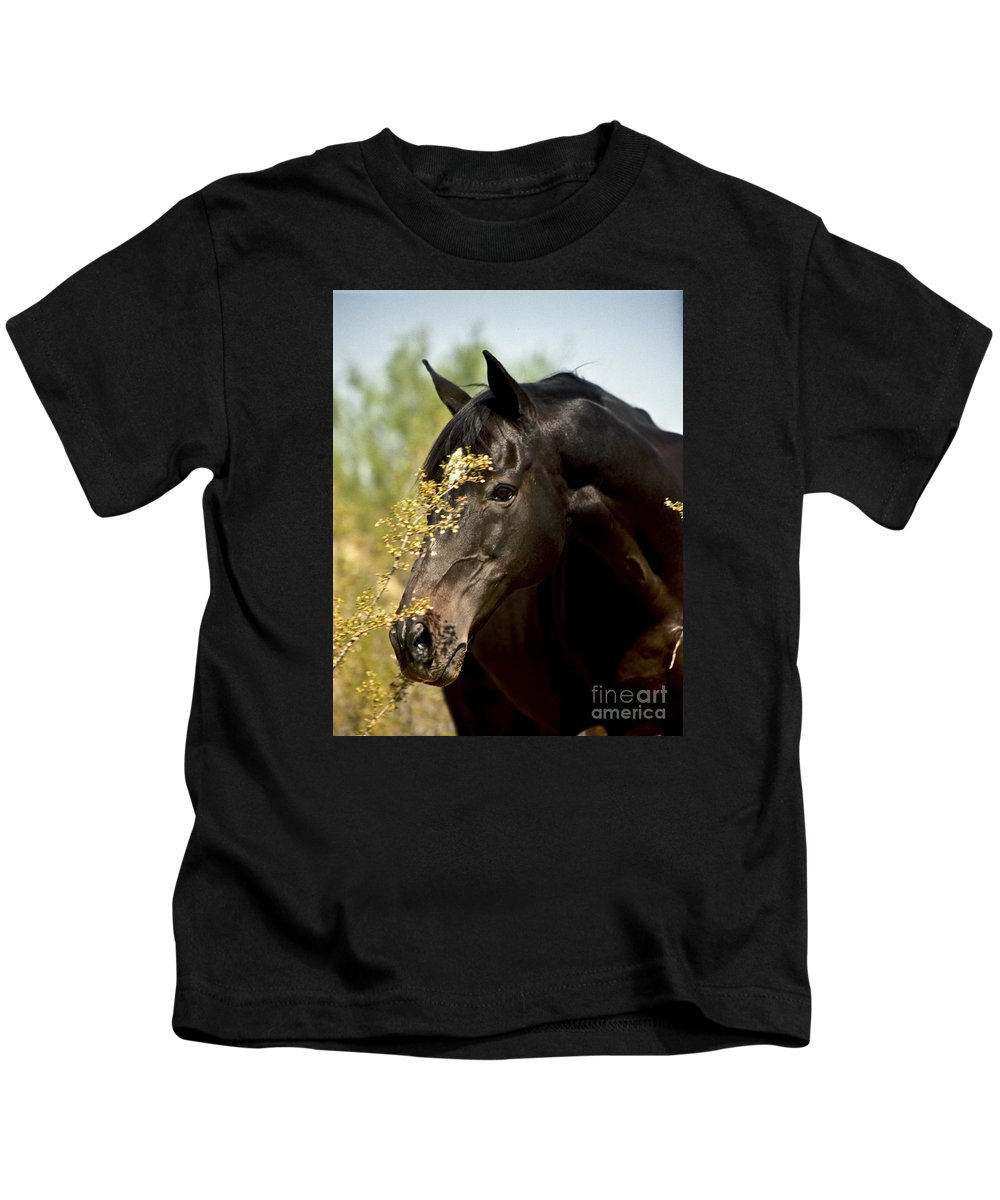 Horse Kids T-Shirt featuring the photograph Portrait Of A Thoroughbred by Kathy McClure