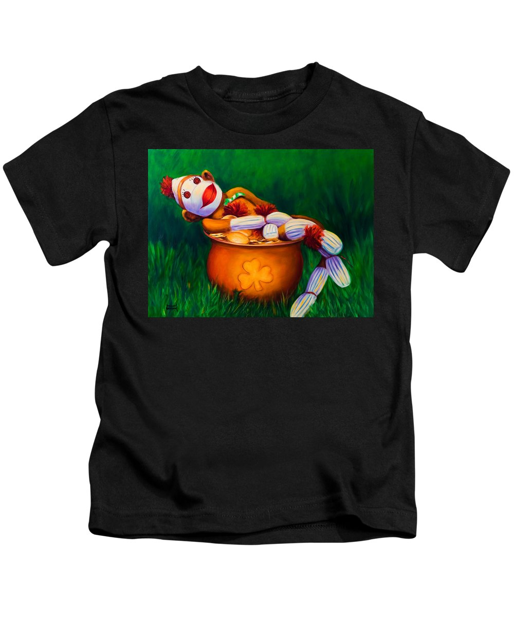 St. Patrick's Day Kids T-Shirt featuring the painting Pot O Gold by Shannon Grissom