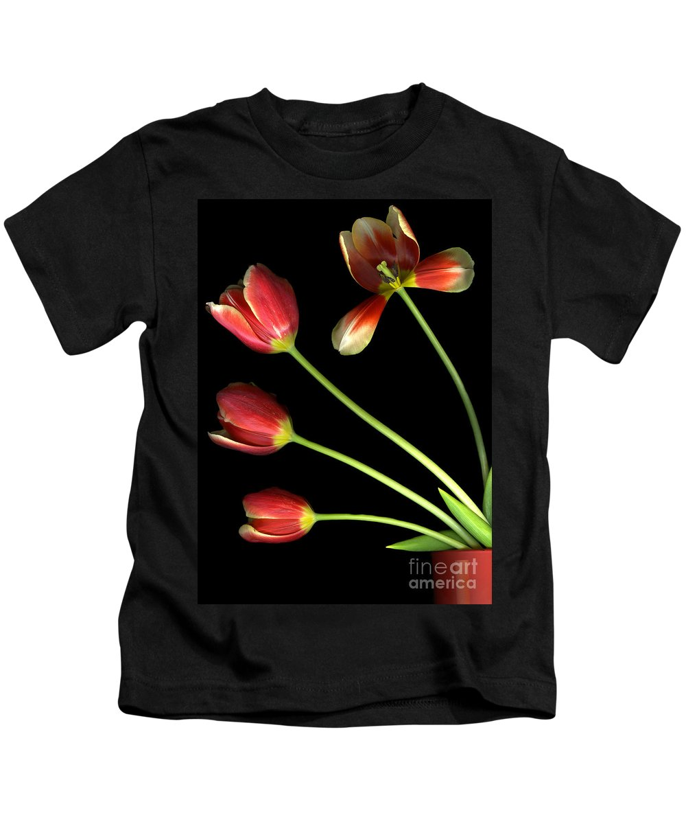 Scanography Kids T-Shirt featuring the photograph Pot Of Tulips by Christian Slanec