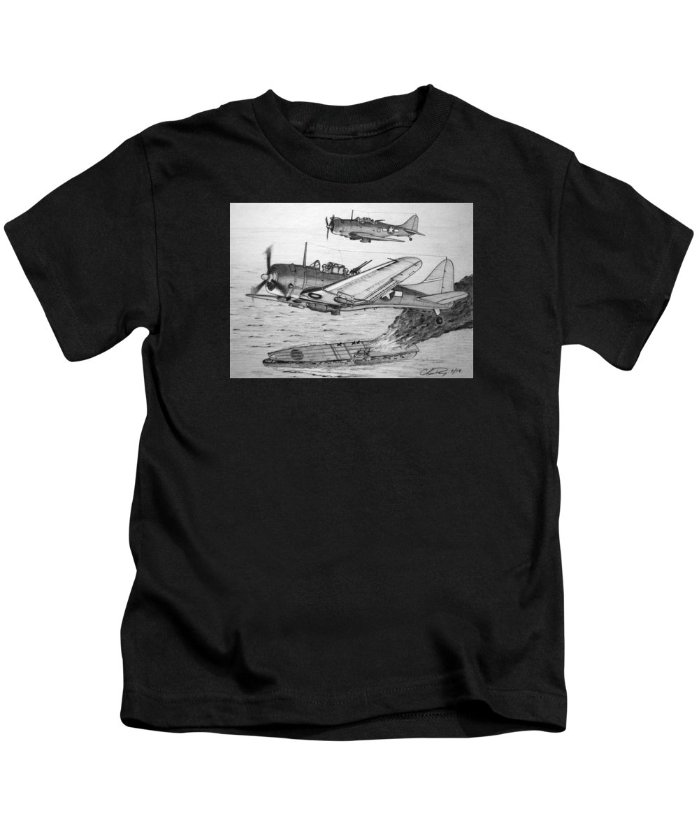 Sbd Dauntless Kids T-Shirt featuring the drawing Pounding The Imperial Fleet by Chris Dang