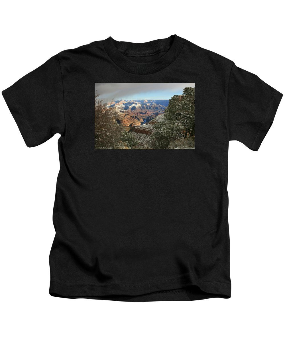 Canyon Kids T-Shirt featuring the photograph Powder Coated Canyon by Susan McMenamin
