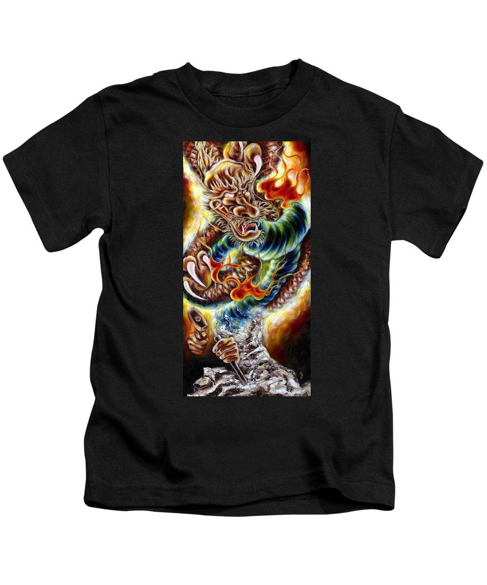 Caving Kids T-Shirt featuring the painting Power Of Spirit by Hiroko Sakai