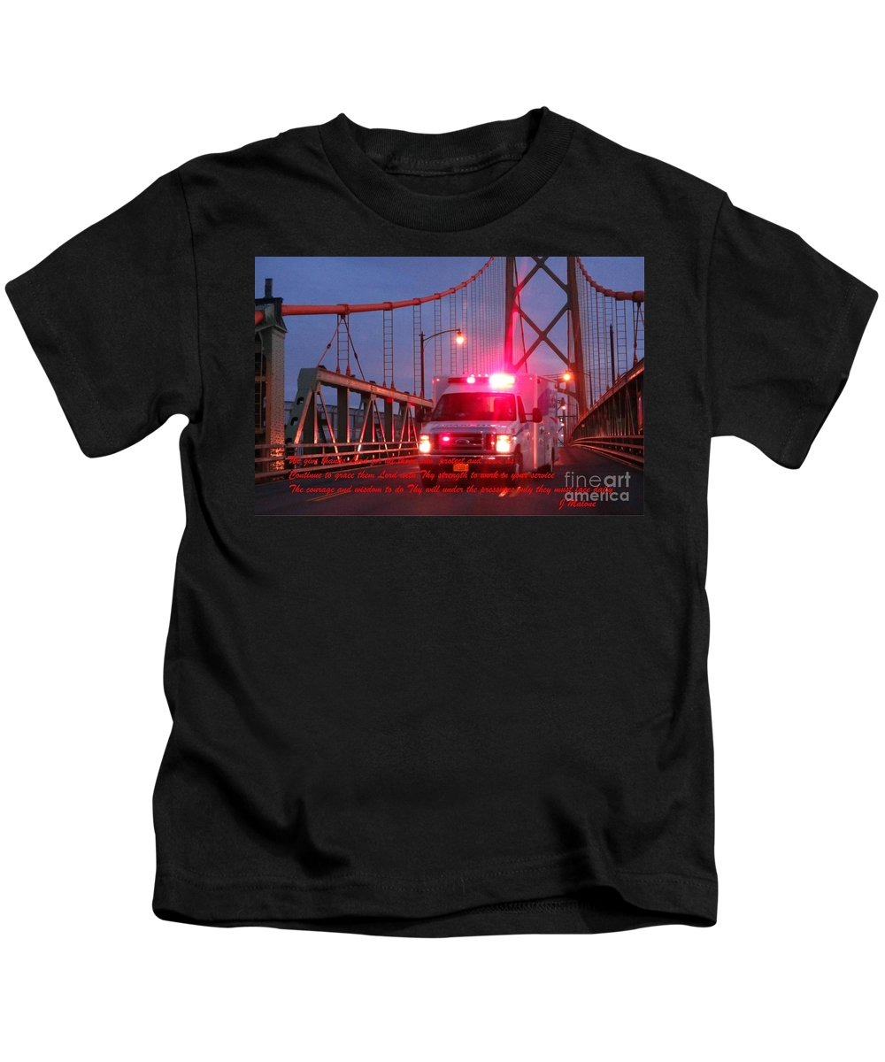 Prayer For Emergency Health Care First Responders Kids T-Shirt featuring the photograph Prayer For Emergency Health Care First Responders by John Malone