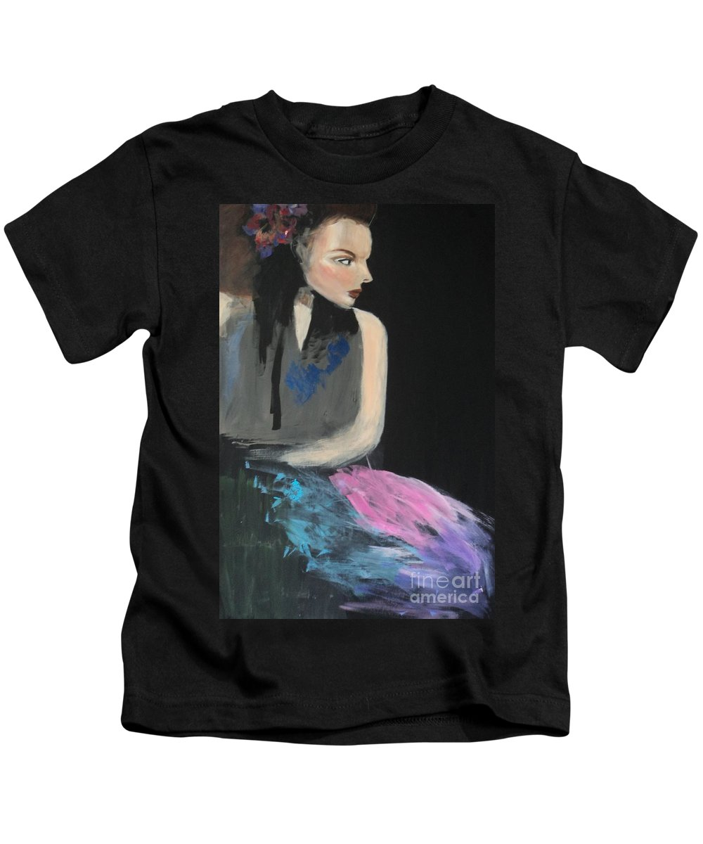 Beautiful Kids T-Shirt featuring the painting Pretty Girl by Linda Lin