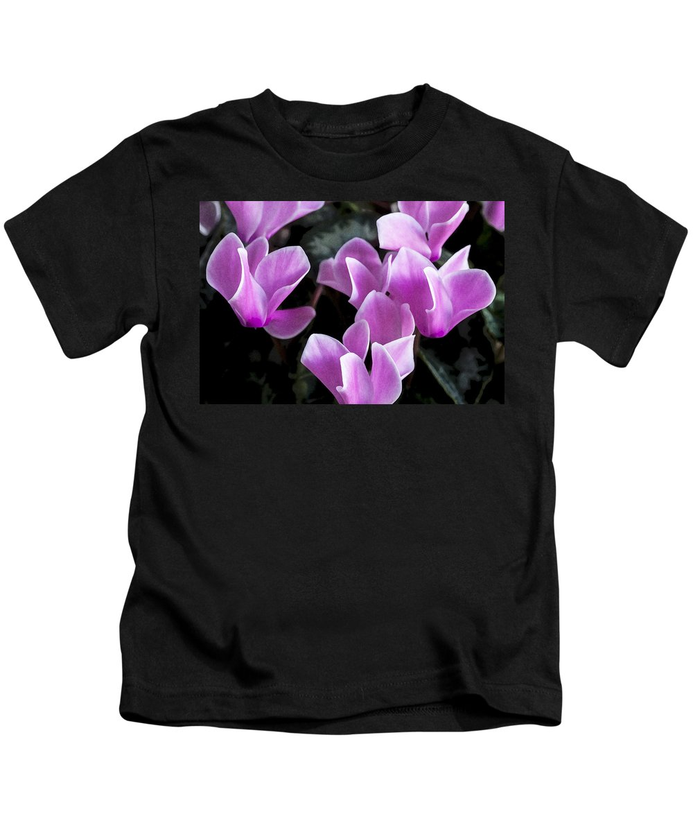 Cyclamens Kids T-Shirt featuring the photograph Pretty Persicum by Rich Franco