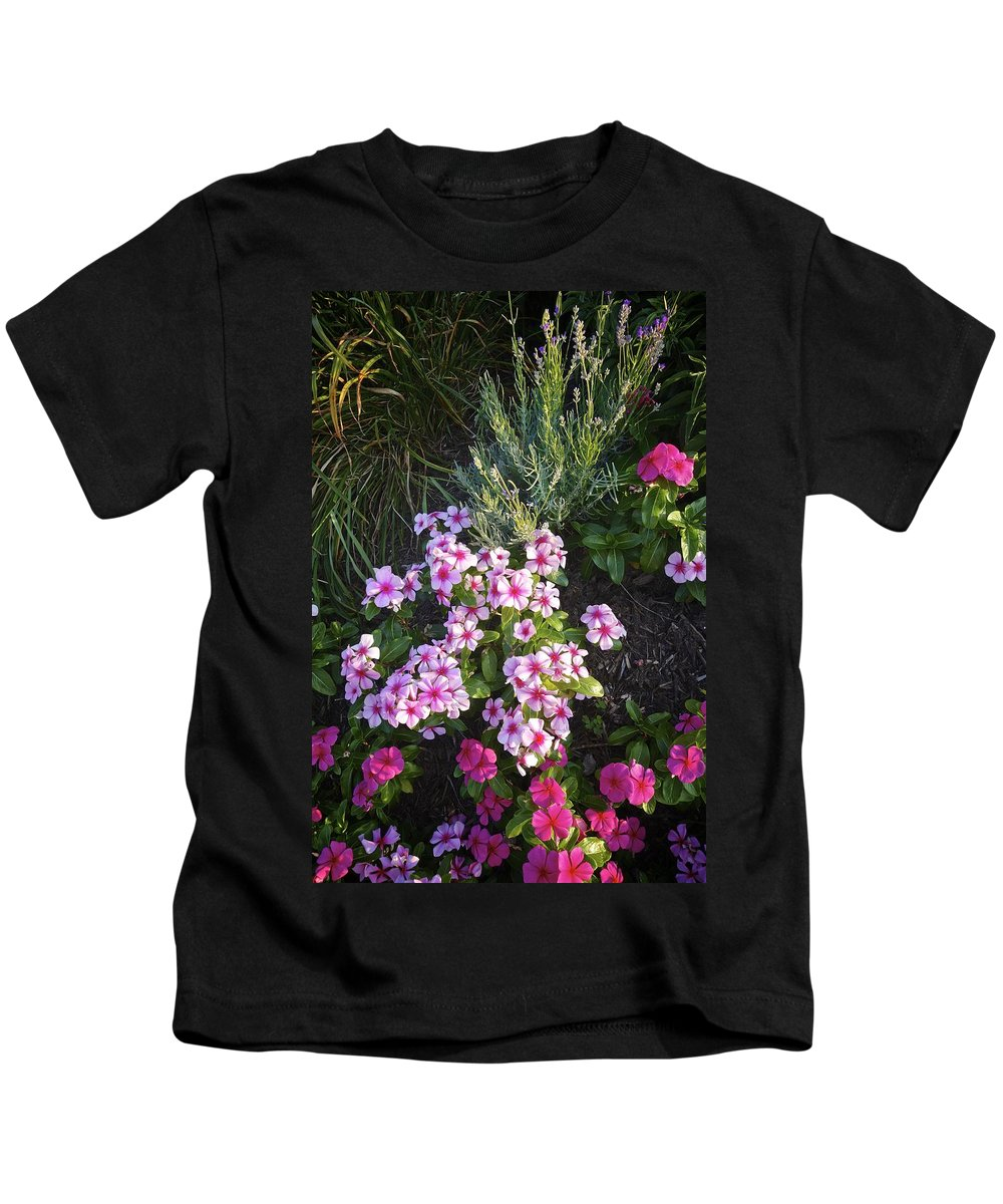 Original Photograph Kids T-Shirt featuring the photograph Pretty Pink Flowers by Joan Reese