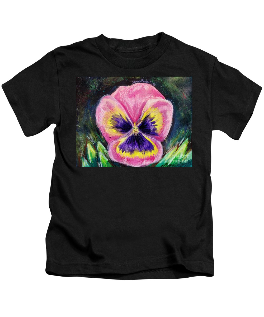 Flower Kids T-Shirt featuring the painting Pretty Pink Pansy Person by Shana Rowe Jackson