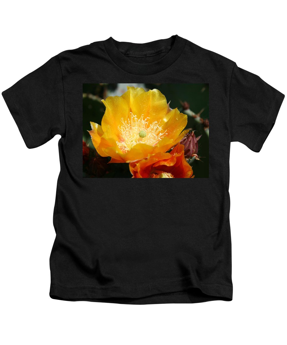 Prickly Pear Blossom Kids T-Shirt featuring the photograph Prickly Pear Blossom by Ellen Henneke