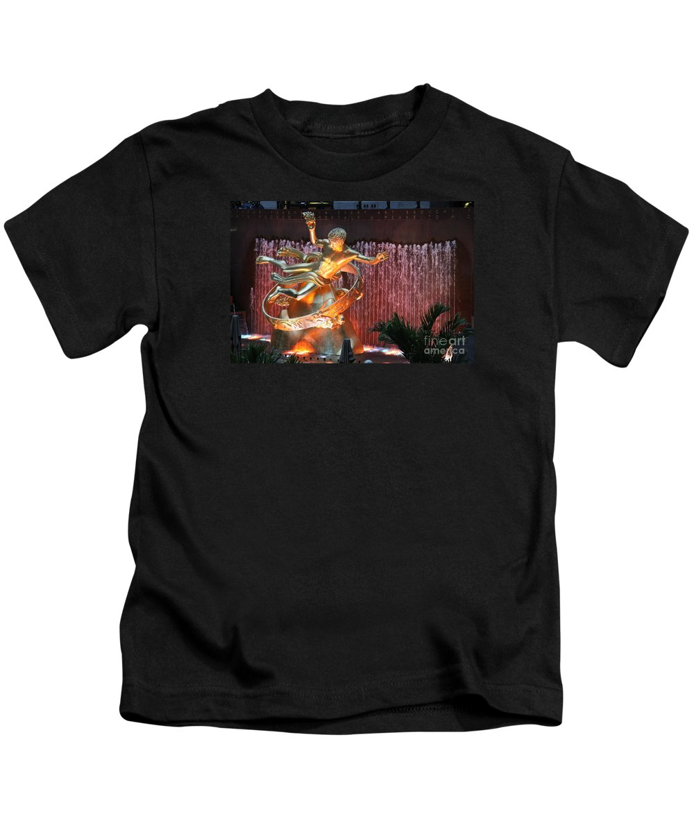 Fountain Kids T-Shirt featuring the photograph Prometheus Statue - Rockefeller Center Nyc by Christiane Schulze Art And Photography