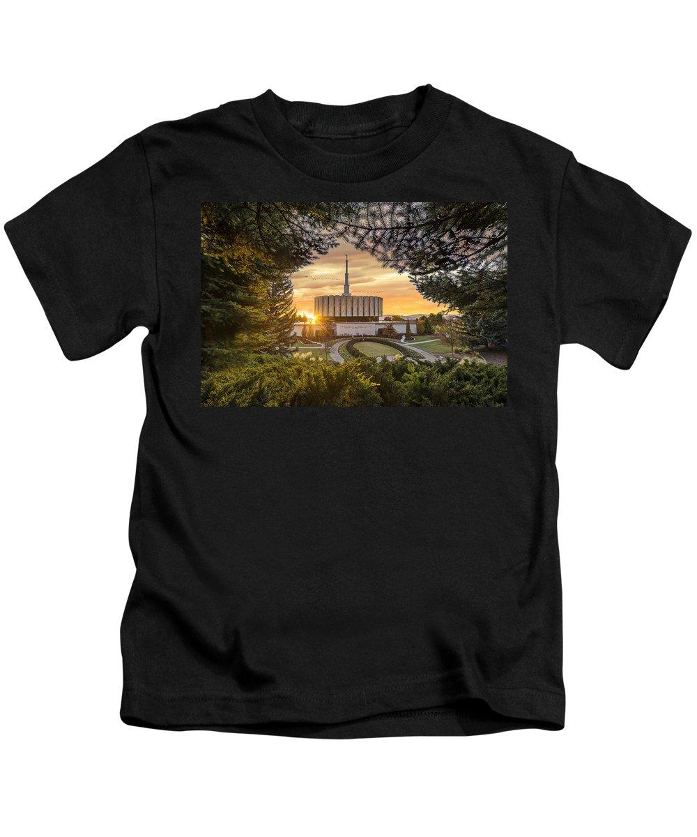 Prove Kids T-Shirt featuring the photograph Prove Temple 2 by Dustin LeFevre