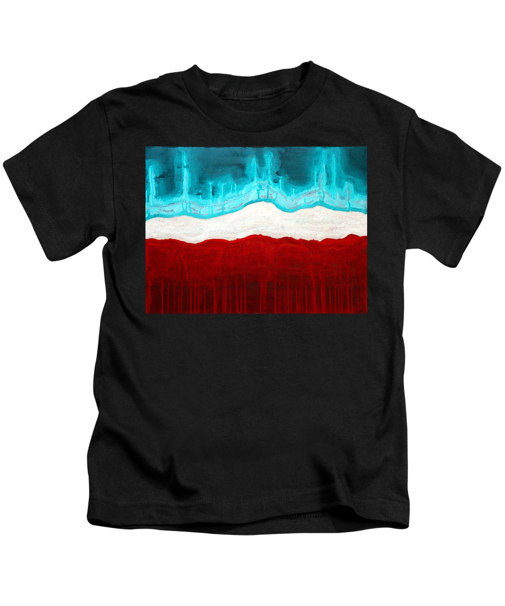 Native American Kids T-Shirt featuring the painting Pueblo Cemetery Original Painting by Sol Luckman