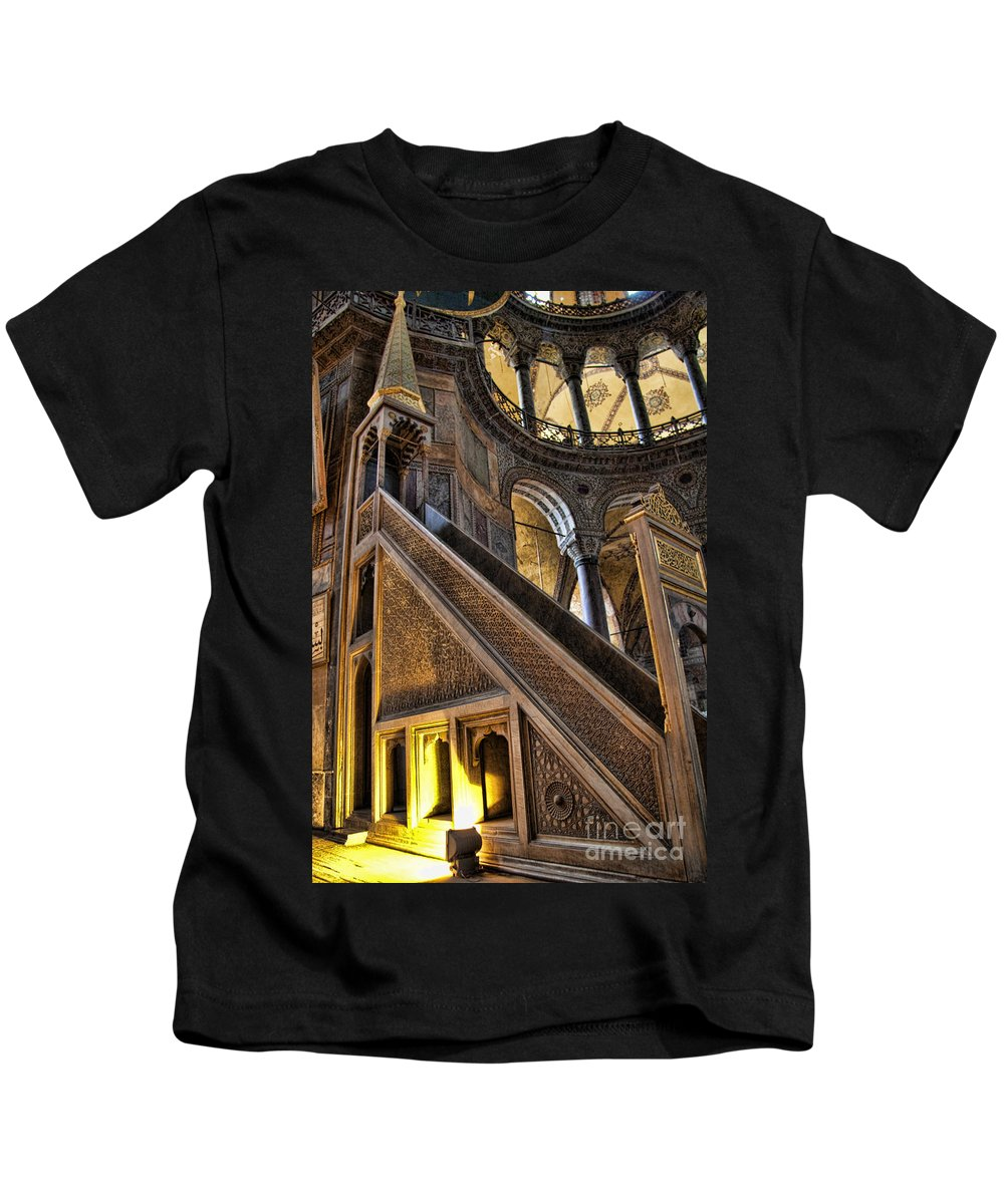 Turkey Kids T-Shirt featuring the photograph Pulpit In The Aya Sofia Museum In Istanbul by David Smith