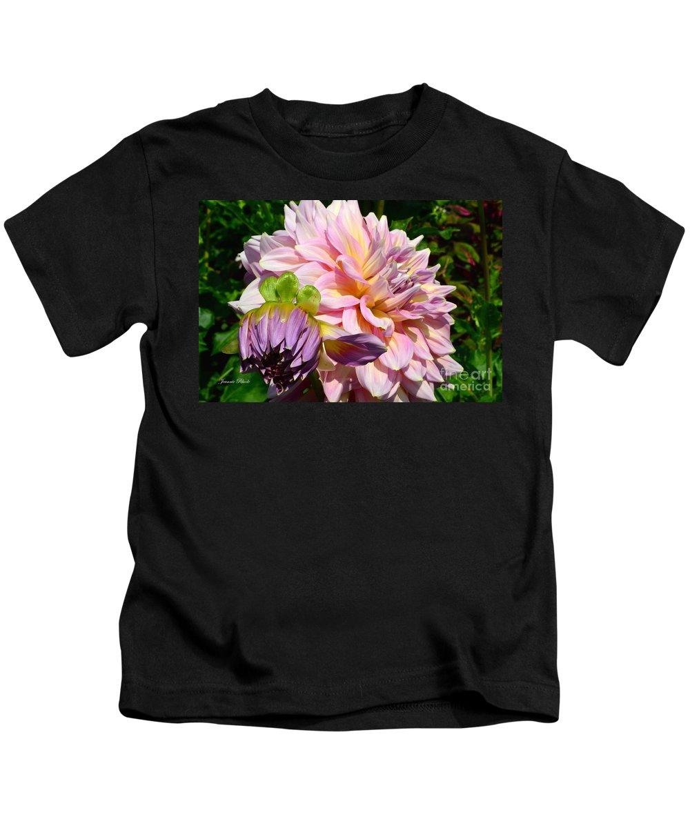 Purple Dahlia With Bud Kids T-Shirt featuring the photograph Purple Dahlia With Bud by Jeannie Rhode