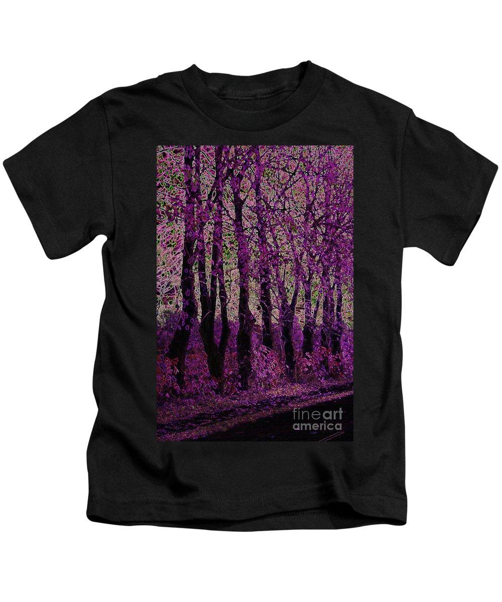 Purple Kids T-Shirt featuring the digital art Purple Trees by Carol Lynch