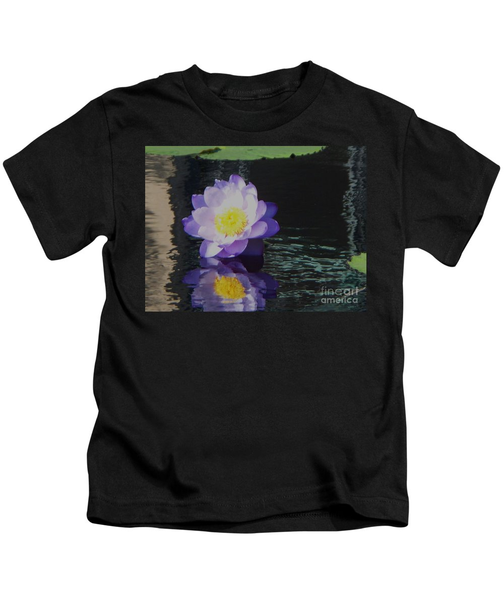 Photograph Kids T-Shirt featuring the photograph Purple White Yellow Lily by Eric Schiabor