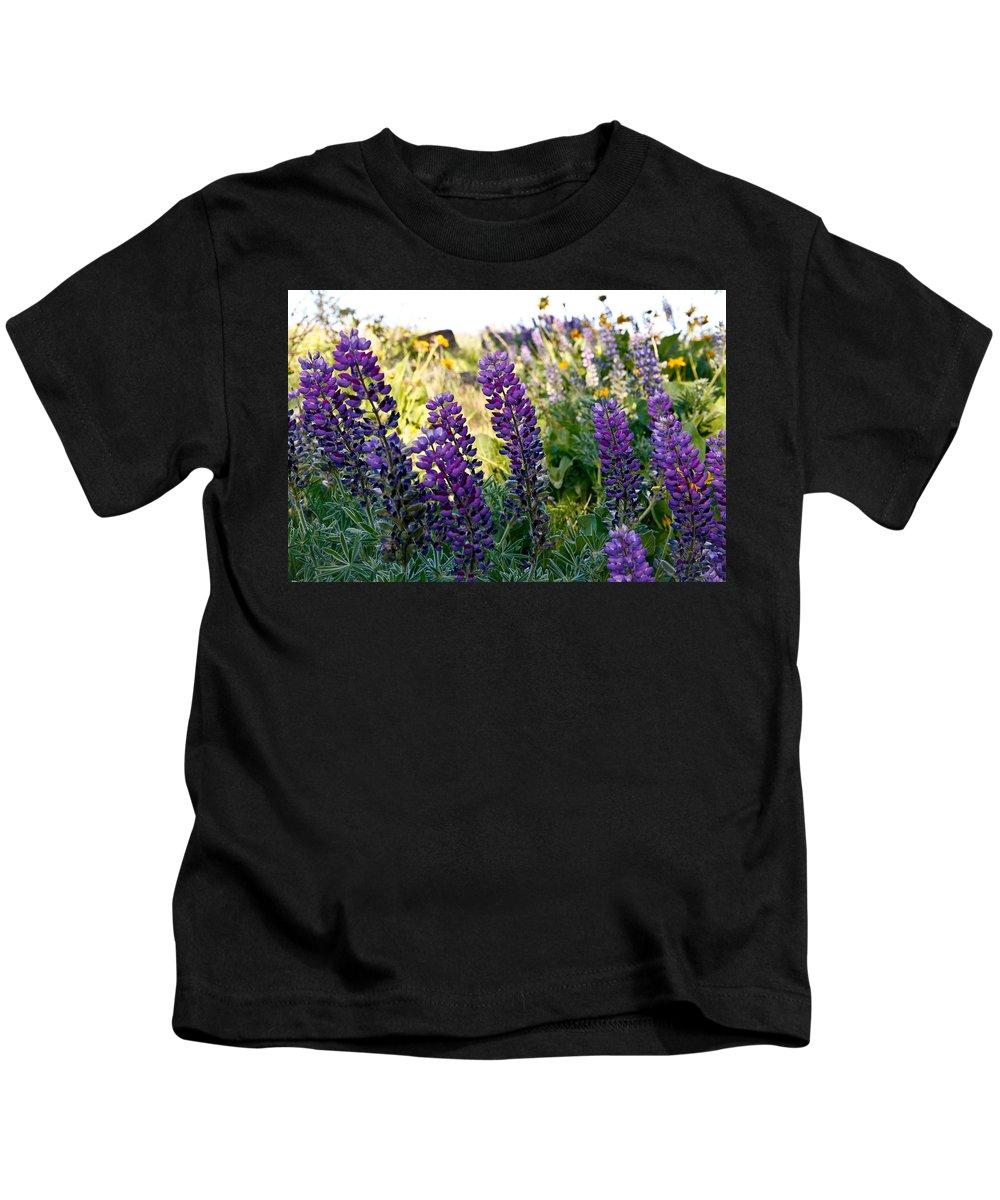 Wild Flowers Kids T-Shirt featuring the photograph Purple Wildlfowers by Athena Mckinzie