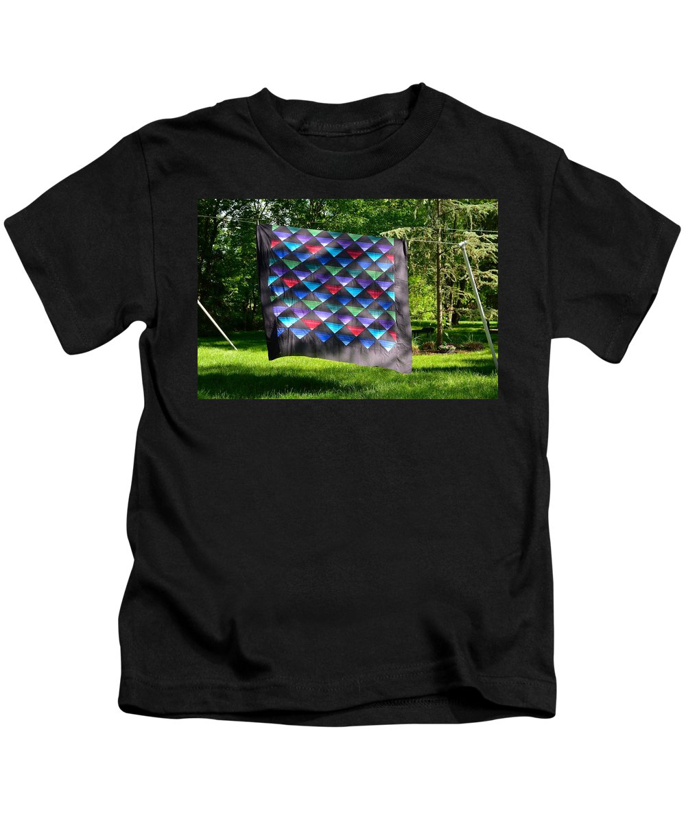 Amish Kids T-Shirt featuring the photograph Quilt Top In The Breeze by Tana Reiff
