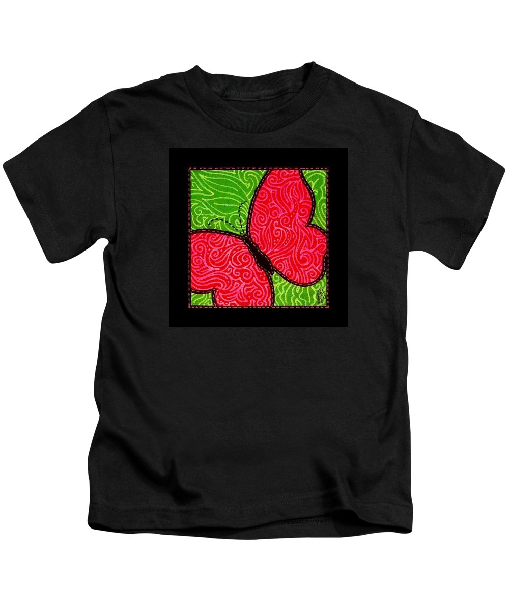 Butterfly Kids T-Shirt featuring the painting Quilted Butterfly by Jim Harris