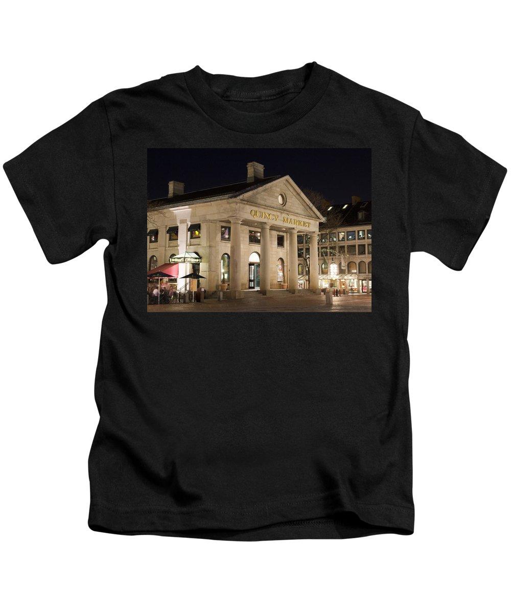 Boston Kids T-Shirt featuring the photograph Quincy Market Boston by Jatinkumar Thakkar