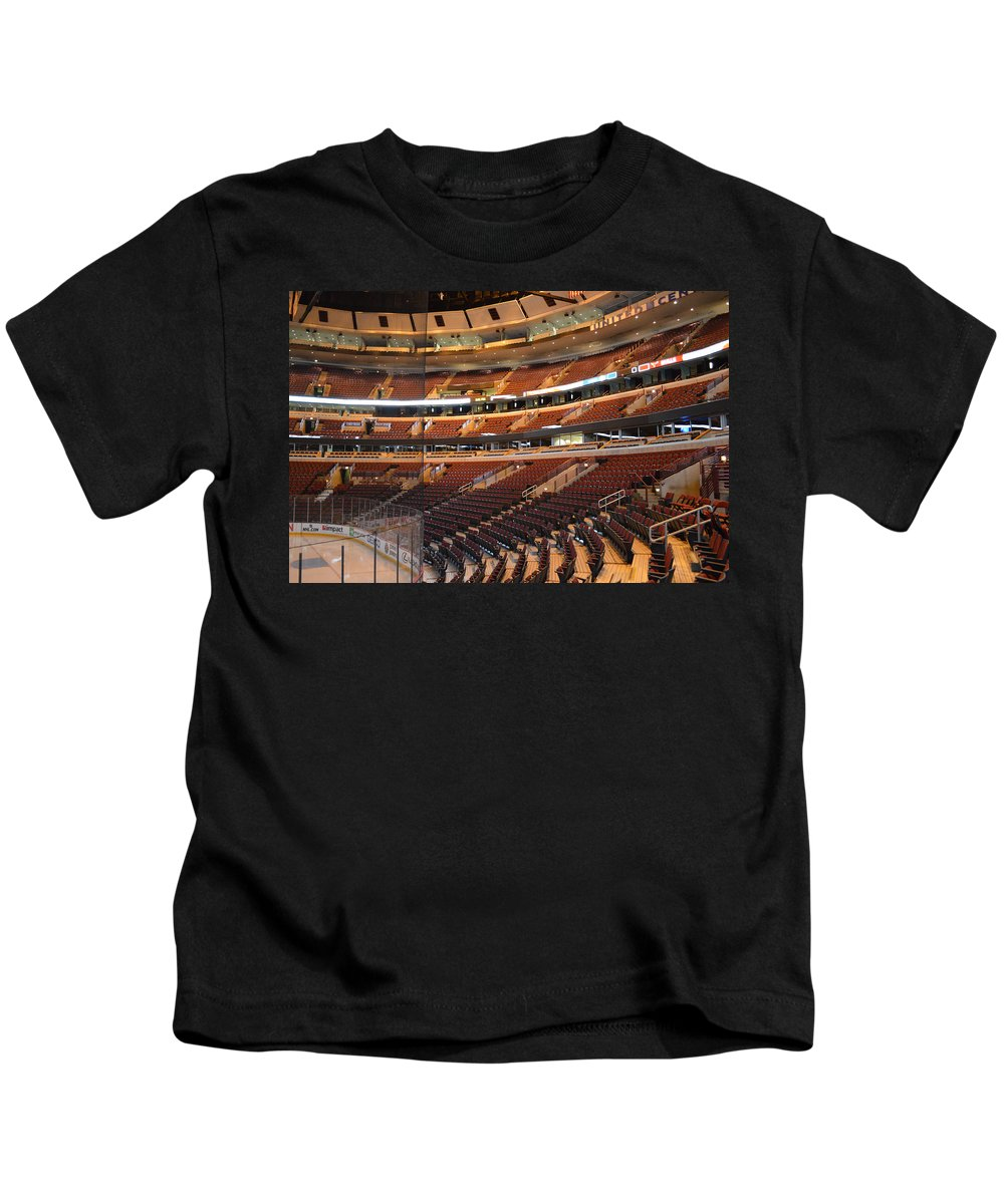 Chicago Blackhawks Kids T-Shirt featuring the photograph Quite Time Chicago United Center Before The Gates Open 02 by Thomas Woolworth