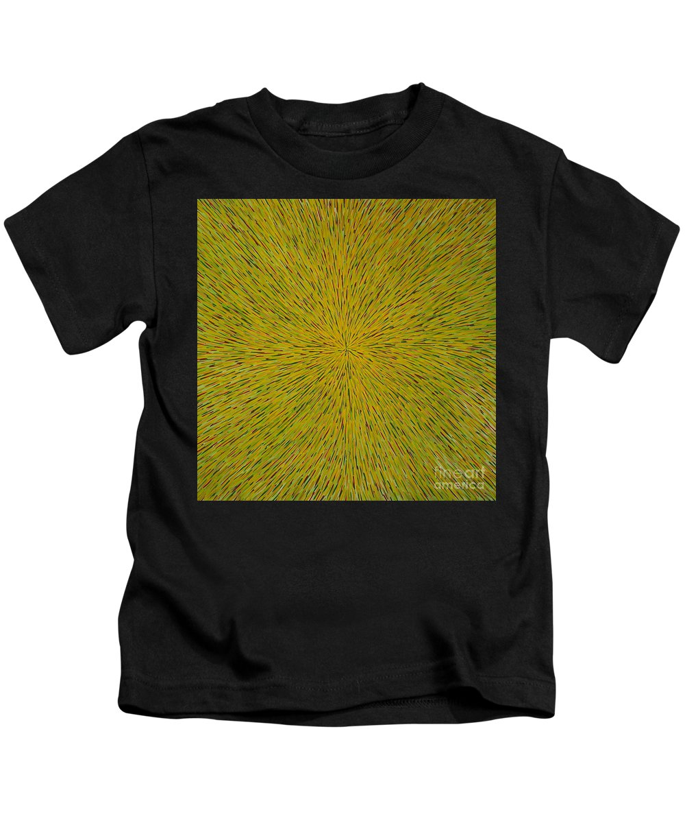 Abstract Kids T-Shirt featuring the painting Radiation With Yellow Green And Red by Dean Triolo