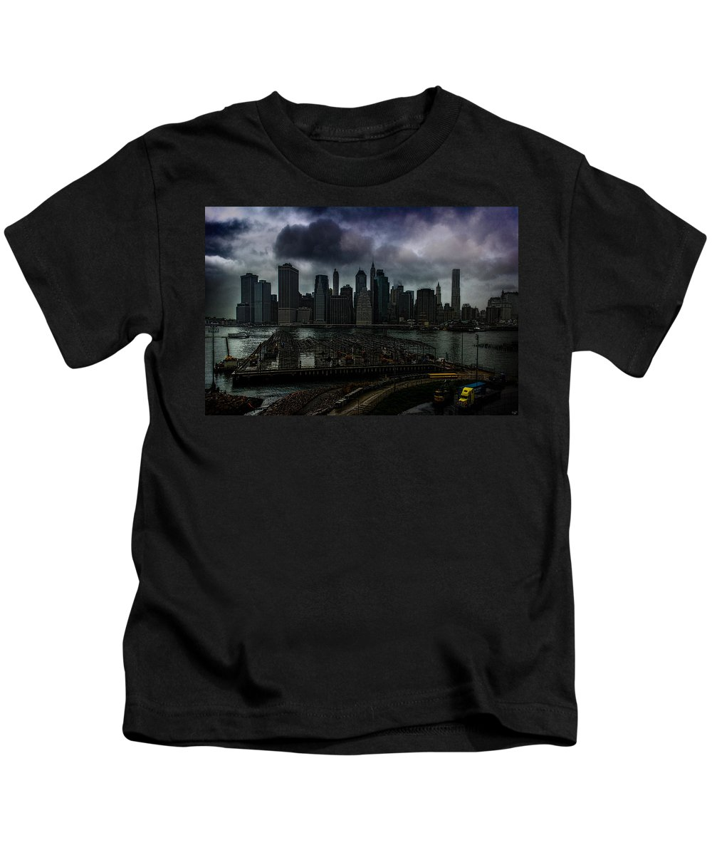 Rain Kids T-Shirt featuring the photograph Rain Showers Likely Over Downtown Manhattan by Chris Lord