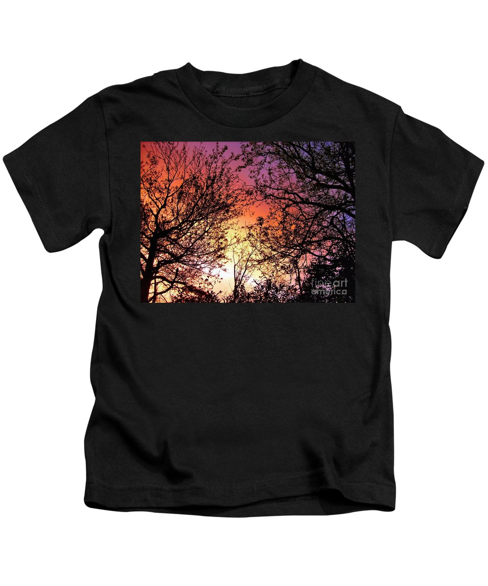 Photography Kids T-Shirt featuring the photograph Rainbow Sunset by Kaye Menner